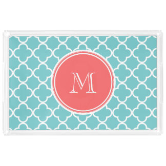 Teal Quatrefoil Pattern, Coral Monogram Acrylic Tray