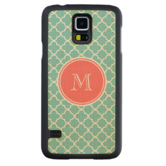 Teal Quatrefoil Pattern, Coral Monogram Carved Maple Galaxy S5 Case