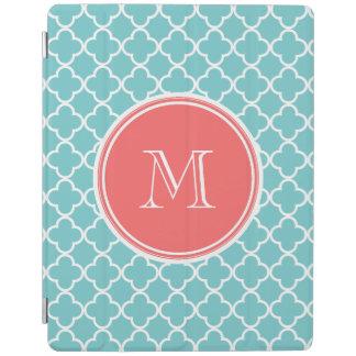 Teal Quatrefoil Pattern, Coral Monogram iPad Cover