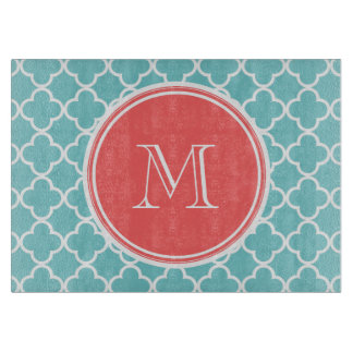 Teal Quatrefoil Pattern, Coral Monogram Cutting Board