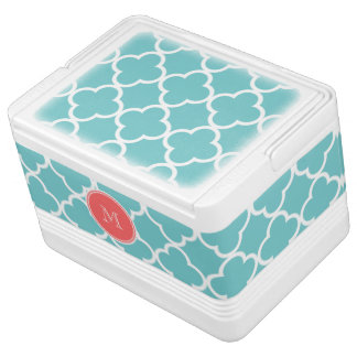Teal Quatrefoil Pattern, Coral Monogram Igloo Cool Box