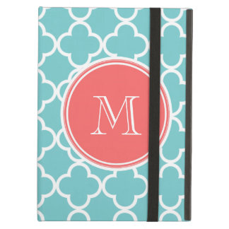 Teal Quatrefoil Pattern, Coral Monogram iPad Air Cases