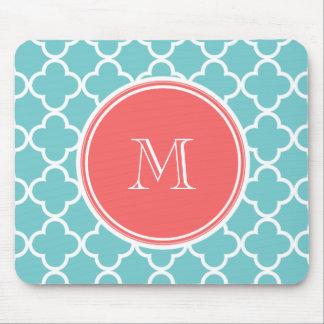 Teal Quatrefoil Pattern, Coral Monogram Mouse Mat