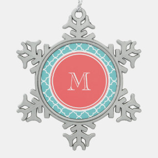 Teal Quatrefoil Pattern, Coral Monogram Snowflake Pewter Christmas Ornament