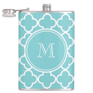 Teal Quatrefoil Pattern, Your Monogram Flask