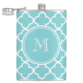 Teal Quatrefoil Pattern, Your Monogram Hip Flask