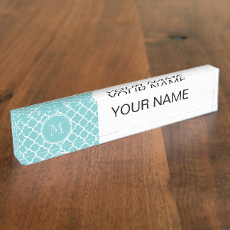 Teal Quatrefoil Pattern, Your Monogram Nameplate