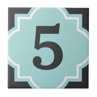 Teal quatrefoil street address house number tile