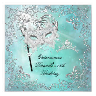 Teal Quinceanera 15th Birthday Tiara Masquerade Card
