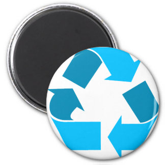 teal recycle 6 cm round magnet