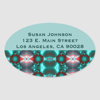 Teal Red Abstract Design Oval Sticker