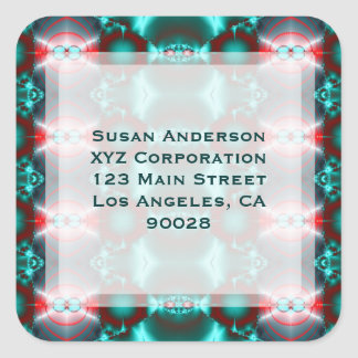 Teal Red Abstract Design Square Sticker