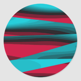 Teal-Red Abstract Sticker