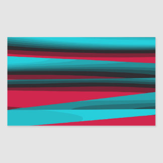 Teal-Red Abstract Rectangular Sticker