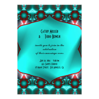Teal Red Abstract Wedding Custom Announcements