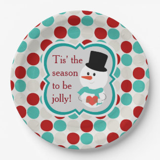 Teal Red and Grey Snowman Christmas Party Paper Plate