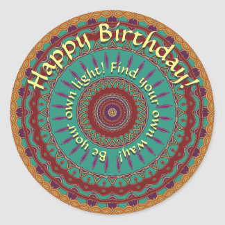 Teal, Red and Purple Mandala with Round Text Round Sticker