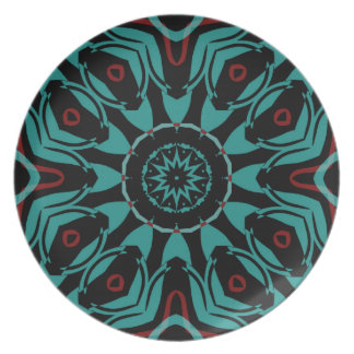 Teal red black | Interesting color combination Plates
