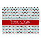 Teal Red Chevron Employee Anniversary Card