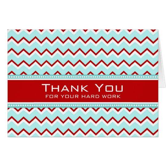Teal Red Chevron Employee Appreciation Card