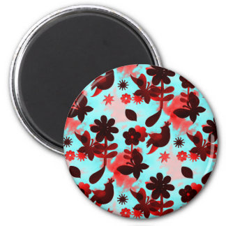 Teal Red Flowers Birds Butterflies Faded Grunge 6 Cm Round Magnet