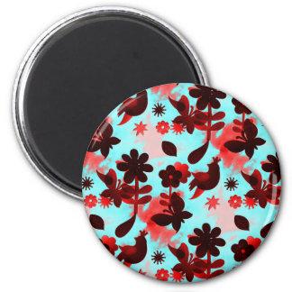 Teal Red Flowers Birds Butterflies Faded Grunge Fridge Magnets
