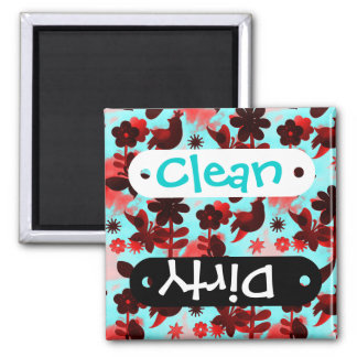 Teal Red Flowers Birds Butterflies Faded Grunge Square Magnet