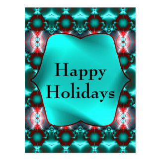 Teal Red Happy Holidays Post Card