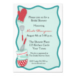 "Teal & Red Kitchen Bridal Shower Invitation 5"" X 7"" Invitation Card"