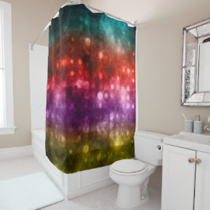 Teal Red Purple Chartreuse Bokeh Design Shower Curtain
