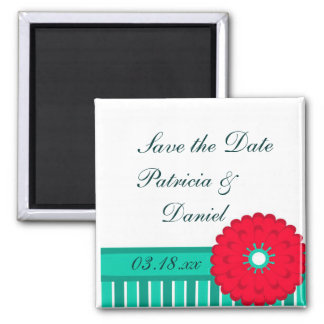 Teal & Red Wedding Square Magnet