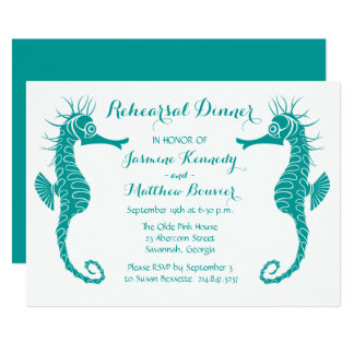 Teal Rehearsal Dinner Seahorse Beach Wedding Card