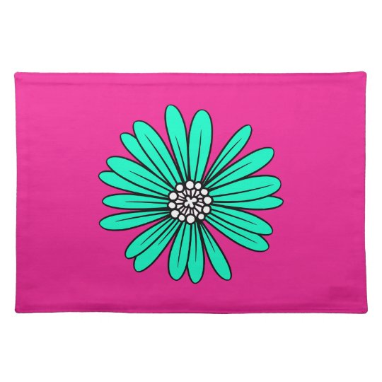 Teal Retro Colourful Modern Flower Pattern Placemat