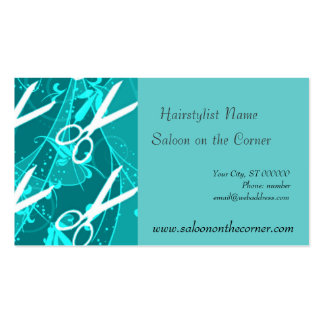 Teal Retro Fashion  Fantasy Scissors Pack Of Standard Business Cards