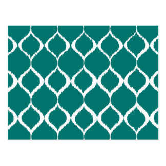 Teal Retro Geometric Ikat Tribal Print Pattern Postcard