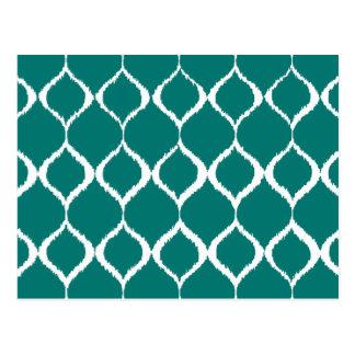Teal Retro Geometric Ikat Tribal Print Pattern Postcard