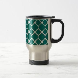 Teal Retro Geometric Ikat Tribal Print Pattern Travel Mug
