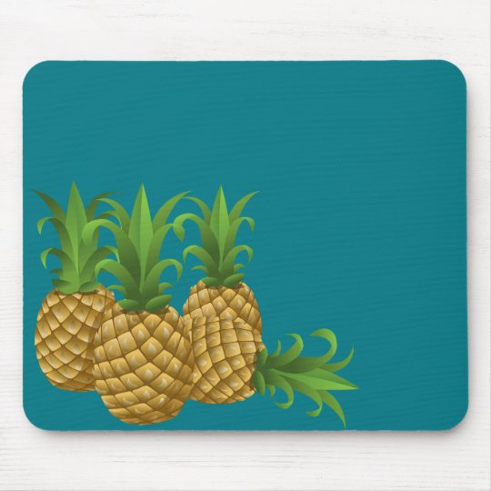 Teal Retro Vintage Pineapple Mouse Mat