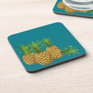 Teal Retro Vintage Pineapples Coaster
