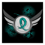 Teal Ribbon And Wings Ovarian Cancer