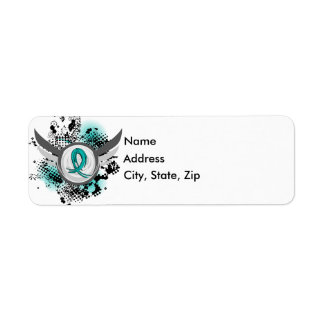 Teal Ribbon And Wings Ovarian Cancer Return Address Label