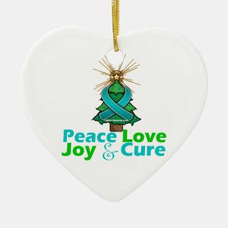 Teal Ribbon Christmas Peace Love, Joy & Cure Ceramic Heart Decoration