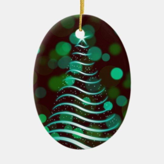 Teal Ribbon Christmas Tree on Holiday Bokeh Christmas Ornament