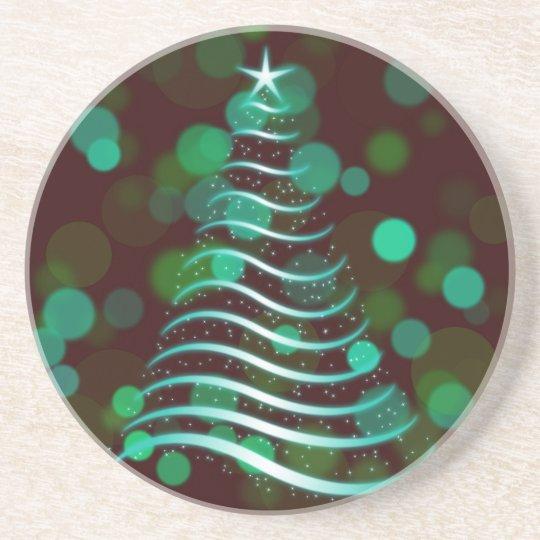 Teal Ribbon Christmas Tree on Holiday Bokeh Coaster