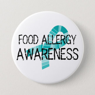 Teal Ribbon Food Allergy Awareness Shades of Teal 7.5 Cm Round Badge