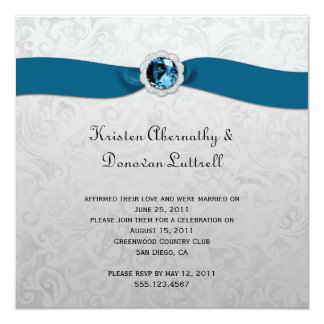 Teal Ribbon Gem Silver Post Wedding Invitation