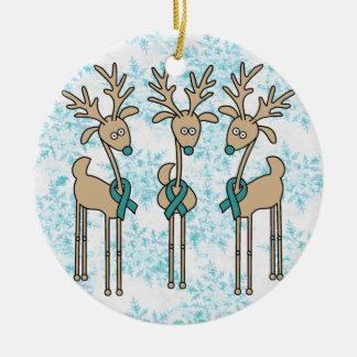 Teal Ribbon Reindeer - Cervical Cancer Christmas Ornament