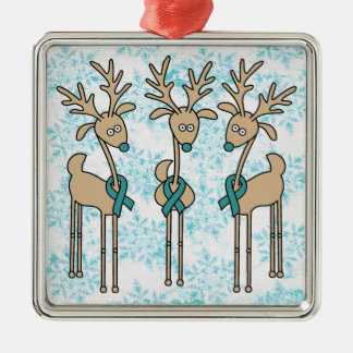 Teal Ribbon Reindeer (Ovarian Cancer) Christmas Ornament