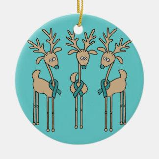Teal Ribbon Reindeer (Ovarian Cancer) Christmas Ornament