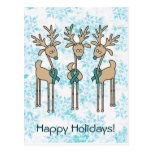 Teal Ribbon Reindeer Postcard